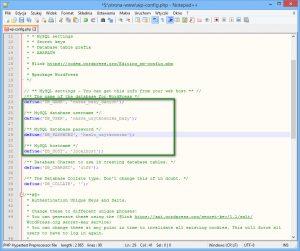Zawartość pliku wp-config w edytorze Notepad++